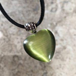 Green Puffed Neiman Marcus Heart Pendant, EUC